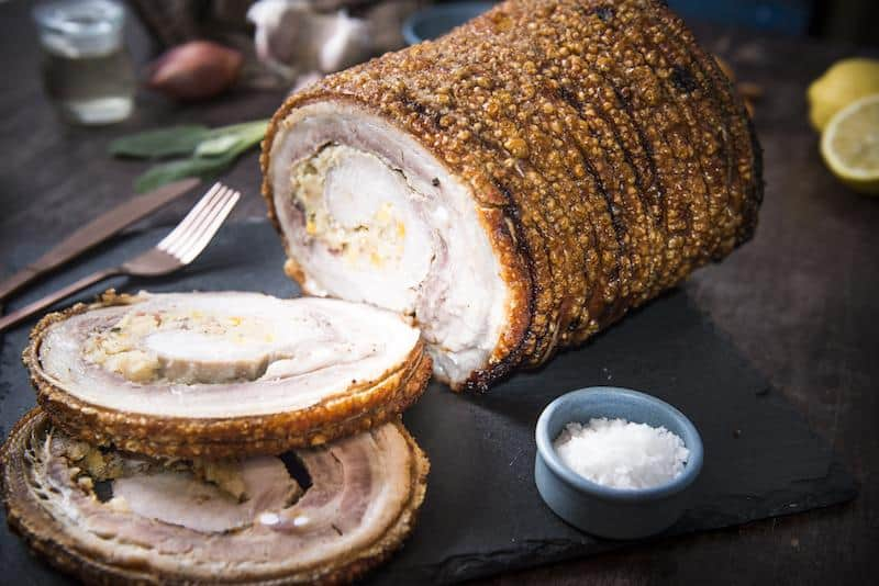Cracked roast pork stuffed w/ apricot & sage (gf)