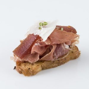 Serrano Ham, manchego and quince paste crostini
